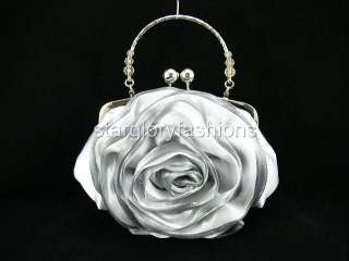 Top Handle Crystal Silver Rose Wedding Purse Clutch