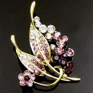 1 pc Austrian rhinestone crystal leaf brooch pin