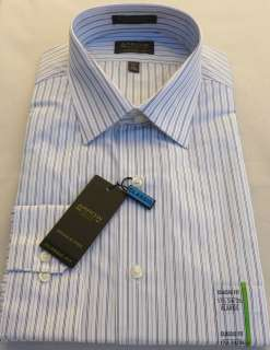 New Men Arrow Classic Fit Tan & Black Stripes White Dress Shirt