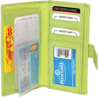 Genuine Leather Ladies Wallet Credit Card Holder Green #19454