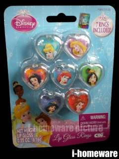 Princess Disney Party Toy 7 Lip Gloss Rings P402