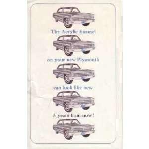 1965 PLYMOUTH Acrylic Paint Sales Brochure Book Automotive