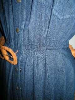 Liz Claiborne Petites Western Style Blue Denim Dress Swing Skirt Sz8