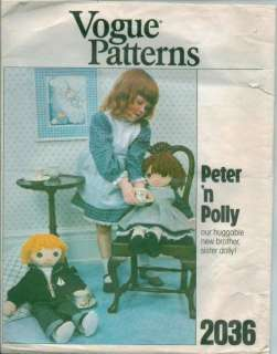 Vintage Vogue Peter & Polly Rag Doll & Clothes Stuffed Toy Sewing