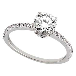 Cathedral Pave Diamond Engagement Ring Setting 18k White Gold (0.20ct