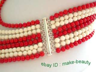stunning 8rows 6mm round natural white&red coral necklace