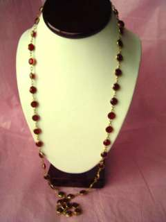 Vtg RED Bezel Set Swarovski Crystal Necklace SET