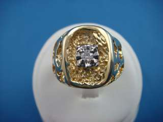 14K YELLOW GOLD MENS VINTAGE OPEN NUGGET RING WITH DIAMOND 9.1 GRAMS