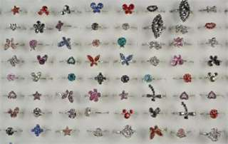 Wholesale Lots 30pcs Cute Fun Child Kid Party Crystal Ring R078
