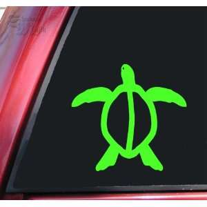 Hawaiian Honu Sea Turtle Vinyl Decal Sticker   Lime Green