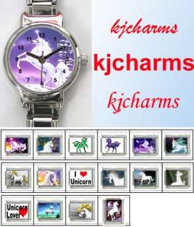 Unicorn Mens Ladies 9mm Italian Charm Watch Set KW89