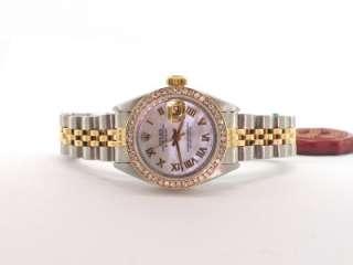 ROLEX SS GOLD DATEJUST LADIES MOP DIAL 18K DIAMOND BEZEL WATCH W