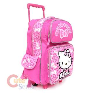 Sanrio Hello Kitty Large Rolling Backpack School Roller Bag Pink Bows