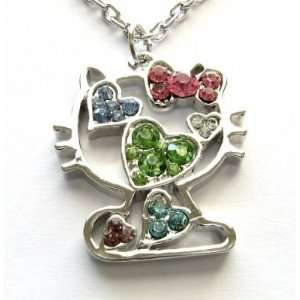 Kitty Multi Color Crystal Heart Necklace Pendant