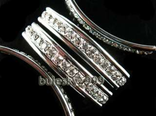 10 Silver Plated 50x9mm Crystal Rhinestone Finding Curve 2Hole Tube