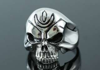 Biker Gothic Skull w/o Jaw Stainless Steel Ring R075