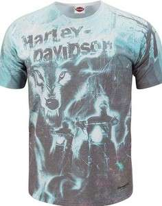 Harley Davidson Mens Sublimated Roar Of Thunder Wolf Riders T Shirt