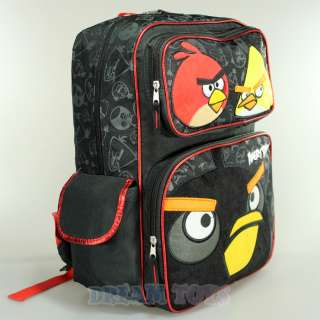 Rovio Angry Birds Fuzzy Red Yellow Black Bird 16 Large Backpack Bag
