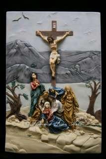 Crucifixion Scene Jesus Christ on the Cross Statue Italian Wall Plate