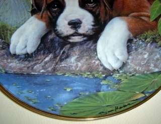 SIMON MENDEZ Boxer Puppies WATERS EDGE Pup Plate Cute!