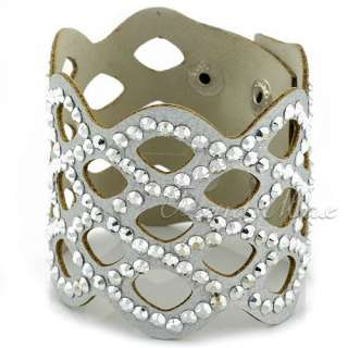 Rhinestone Crystal Faux Leather Wristband Bracelet Bangle UBW3