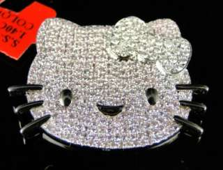 LADIES WHITE GOLD FINISH HELLO KITTY DIAMOND FASHION SLIDE PENDANT