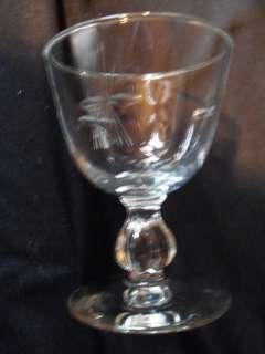 Vintage Fruit Cocktail Glass Ribbed Ball Stem Cut Star