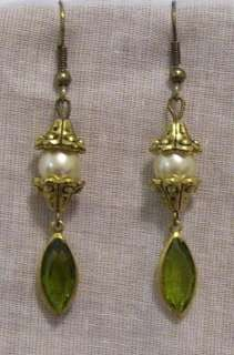 OLIVINE SWAROVSKI CRYSTAL PEARL ELIZABETHAN VICTORIAN EARRINGS
