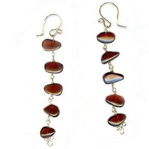 Sterling Silver Earrings Smooth Red Garnet linked together Jewelry