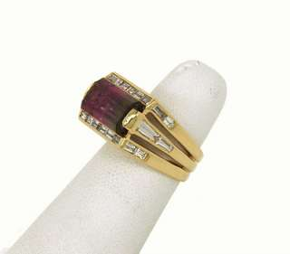 14K GOLD 11.65 CTS WATERMELON TOURMALINE DIAMONDS RING