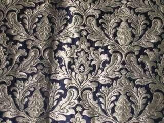 Pure Heavy Silk Brocade Fabric Dark Navy Blue & Gold