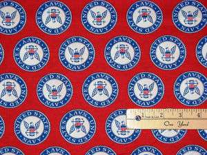 US NAVY Sailor Military Emblems Fabric 1 Yard