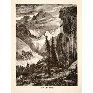 1881 Wood Engraving Altmann Mountain Range Appenzell Alps Switzerland