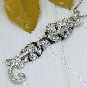 Silver Plated Crystal Rhinestone Tiger Animal Bead Pendant 1PC For