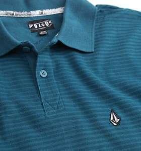 Volcom Stone Pique Mens Teal Stripe Polo Shirt New NWT