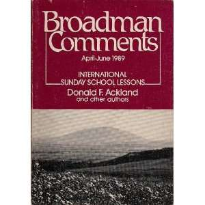 Comments, Apr Jun 1989 (Broadman Comments, Vol 44, No 3) Books