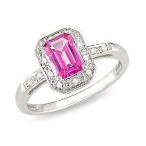 Carat Created Pink Sapphire & Diamond 10K White Gold Ring Jewelry