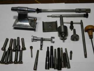 LARGE LOT OF ASSORTED WATCHMAKER LATHE TOOLS & PARTS