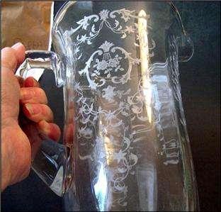 Fostoria Glass Navarre Etch Water Pitcher 9000 Jug HARD TO FIND