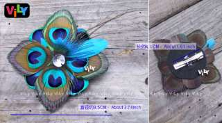 Handmade Bridal Wedding Peacock Feather Fascinator Hair Clip Barrette