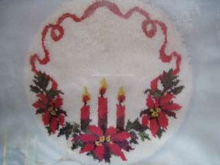 Sew Simple Christmas TREE SKIRT Latch Hook Kit,CANDLE TRIO,Poinsettia