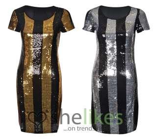 Womens Sequin Stripe Short Sleeve Party Dress Ladies Black Glitter