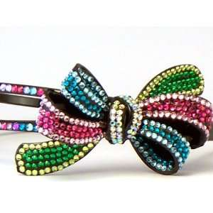 Bling Bling Bow Headband with Multi Color Rhinestones