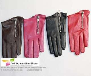 Ladies Oblique Zipper Sheep Leather Gloves 4 Colors
