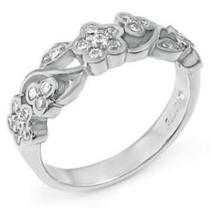 Fabulous Flower Power Themed Sterling Silver Wedding Ring, Crafted