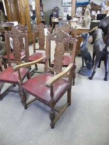 NICE CARVED FRENCH OAK ANTIQUE DINING ROOM CHAIRS 07BE260