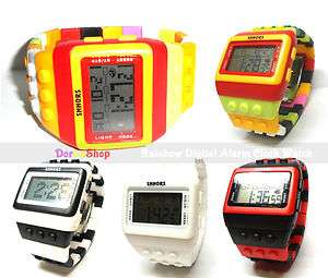 Rainbow Functional Digital Alarm Clock Sports Watch for kid boy girl