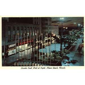 Lincoln Road Mall at Night, Miami Beach, Florida 1960s