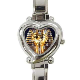EGYPTIAN KING TUT MASK Heart Italian Ladies Wrist Watc