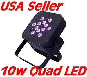 Flat Slim 10 watt QUAD LED RGBW Par can puck style DMX Light 10W X 12